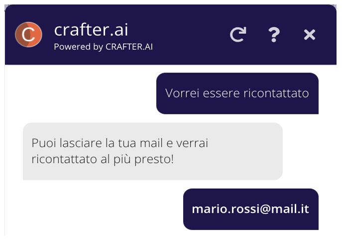 Tutti i chatbot generati con crafter.ai possono raccogliere lead
