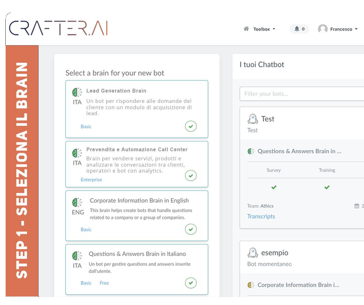 Step 1 piattaforma creazione chatbot, seleziona la funzionalità che il tuo chatbot dovrà fare per risolvere il tuo problema