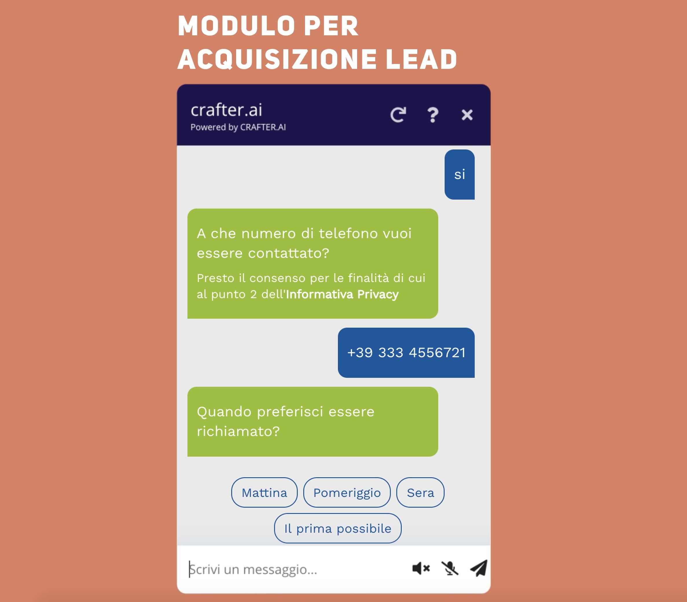 chatroom del bot con moduo per acqusizione dei lead